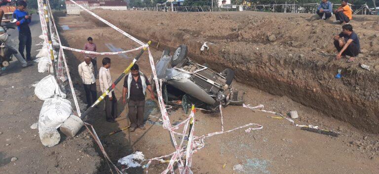 देवदर्शनाला जाणाऱ्या कारचा अपघात एक ठार 4 जण जखमी<br>